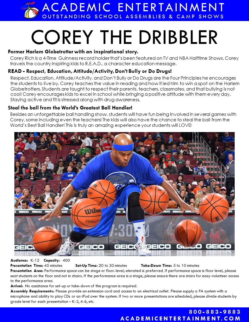 Datasheet Corey the Dribbler School Assembly