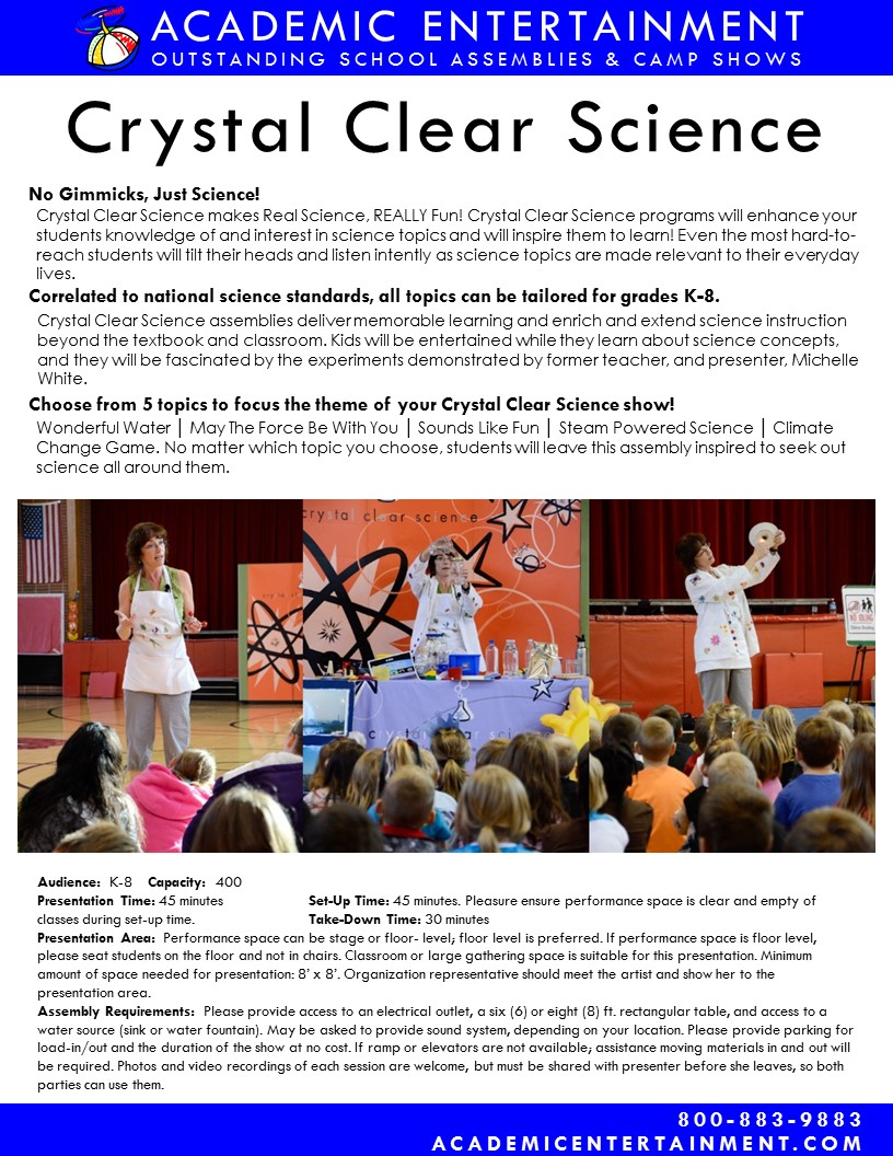 Datasheet Crystal Clear Science School Assembly