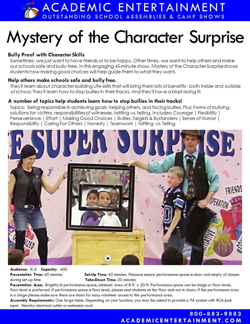 Datasheet Mystery Character Surprise school assembly