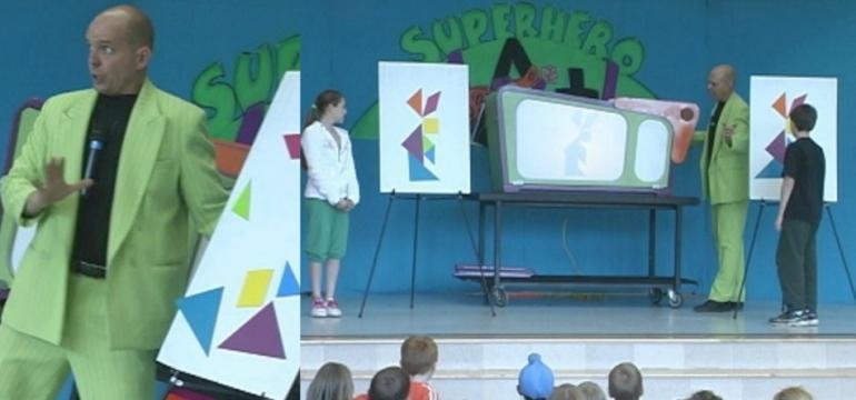 Superhero Math school assembly