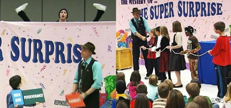 Mystery Character Surprise school assembly