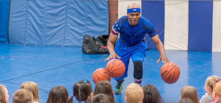 Corey the Dribbler school assembly Summer Camp Show