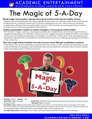 Datasheet Magic of 5-A-Day School Assembly
