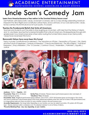 Datasheet Uncle Sam's Comedy Jam school assembly