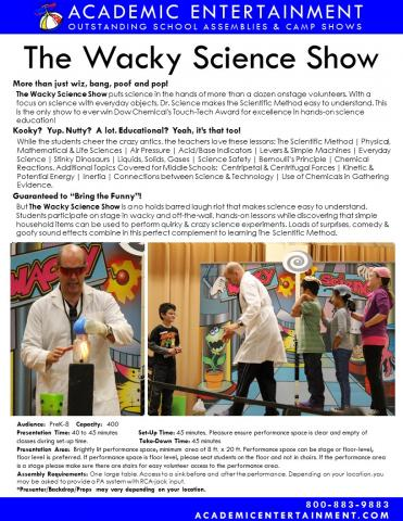 Datasheet Wacky Science School Assembly