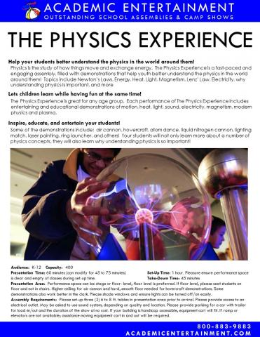 Datasheet The Physics Experience School Assembly