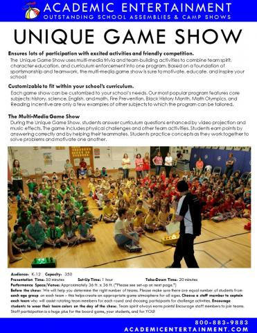 Datasheet Unique Game Show School Assembly