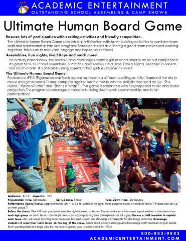Datasheet Ultimate Human Board Game School Assembly