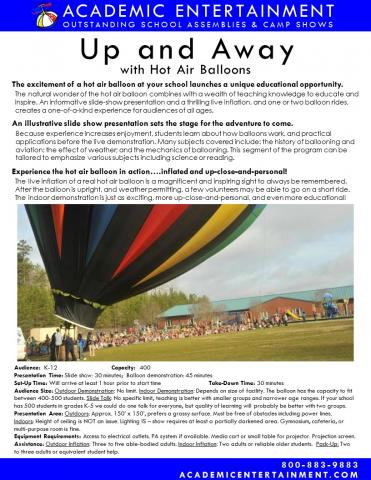Datasheet Up and Away with Hot Air Balloons School Assembly