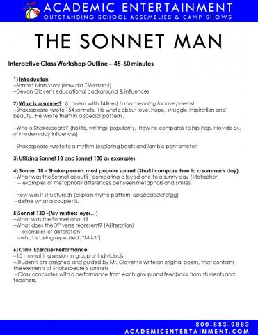 Workshop Outline The Sonnet Man School Assembly