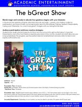 The bGreat Show Character School Assembly Set up Datasheet